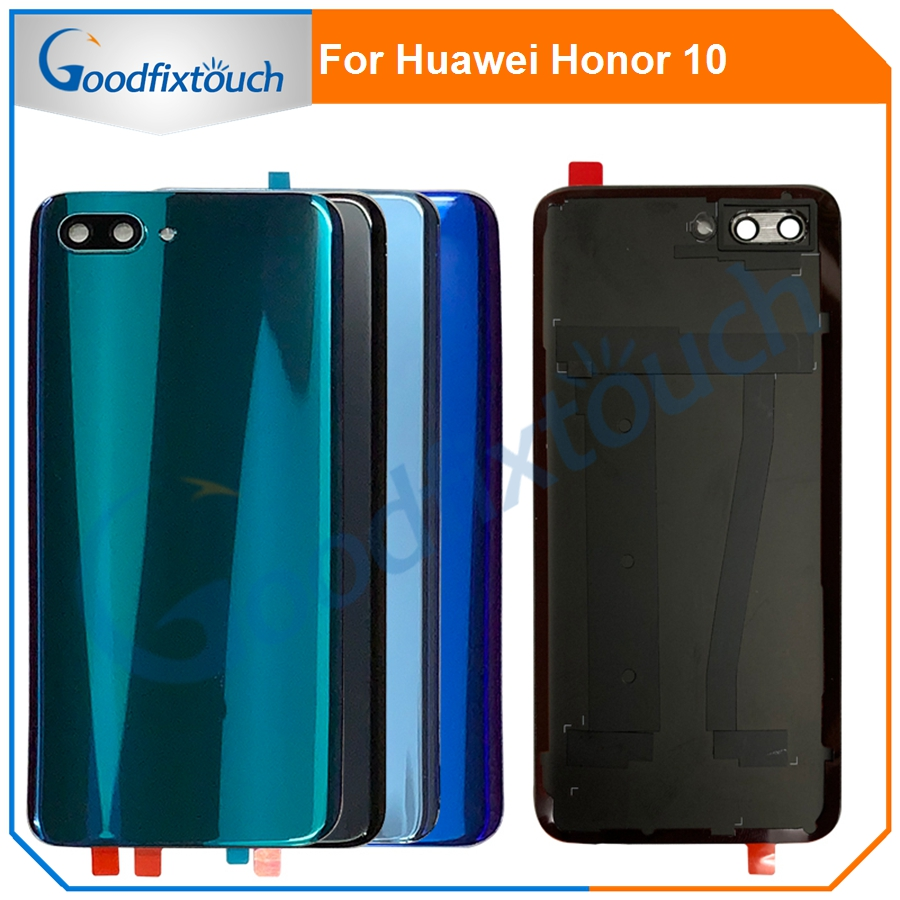 For Huawei Honor 10 Back Battery Glass Cover Panel Rear Door Case For Honor 10 Honor10 Back Cover Housing With Camera Lens image