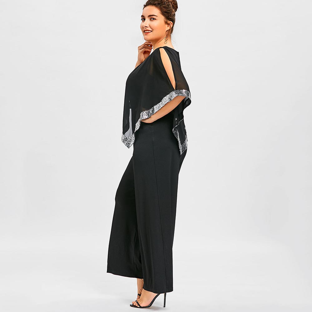 dff3337f0479 Wipalo Plus Size 5XL Sequined Overlay Wide Leg Jumpsuit O Neck Split Sleeve  Sparkly Jumpsuit Casual Solid Chiffon Maxi Jumpsuit-in Jumpsuits from  Women s ...