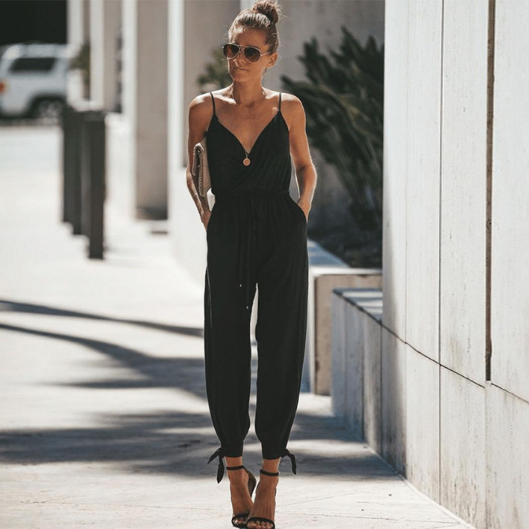 Women Casual V Neck Spaghetti Strap Causal Summer Full Length Floral Side Split Fashion   Jumpsuit