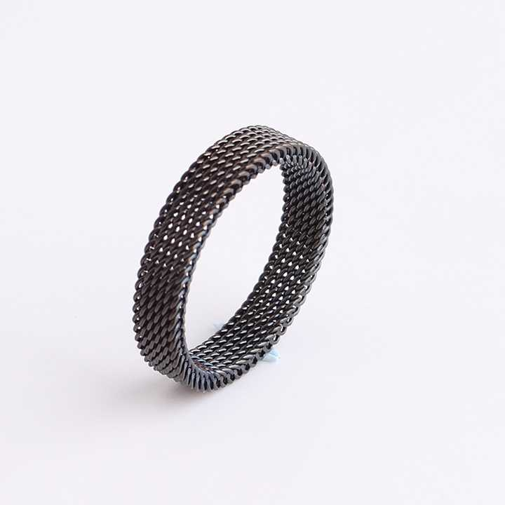 HOT SALE High Quality Metal Silver Black Soft Titanium Alloy Reticular Exquisite Steel Male Ring for Men Gift