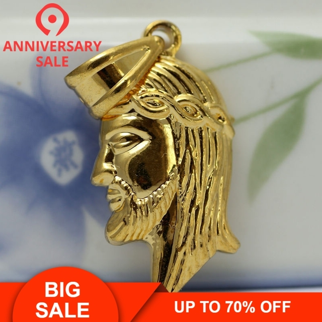 US $8 99  Moonso hip hop rapper cool God Bless JESUS Christ Face Pendant  Necklace with Chain for men Real 24K Gold Metal ForLove X201-in Pendants  from