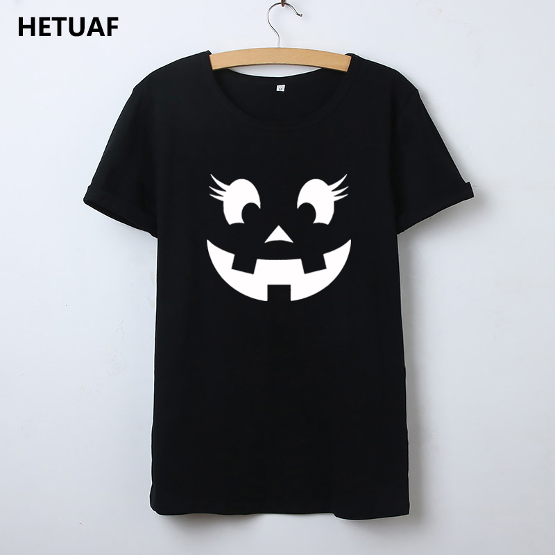 HETUAF Pumpkin Face Graphic Tees Women Tshirt Kawaii Funny Halloween T Shirt Women Tops Hip Hop Short Sleeve Camisetas Mujer