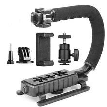C Тип монопод Ручной Стабилизатор камеры держатель ручка держатель для вспышки адаптер Три Горячий башмак для Dslr Slr