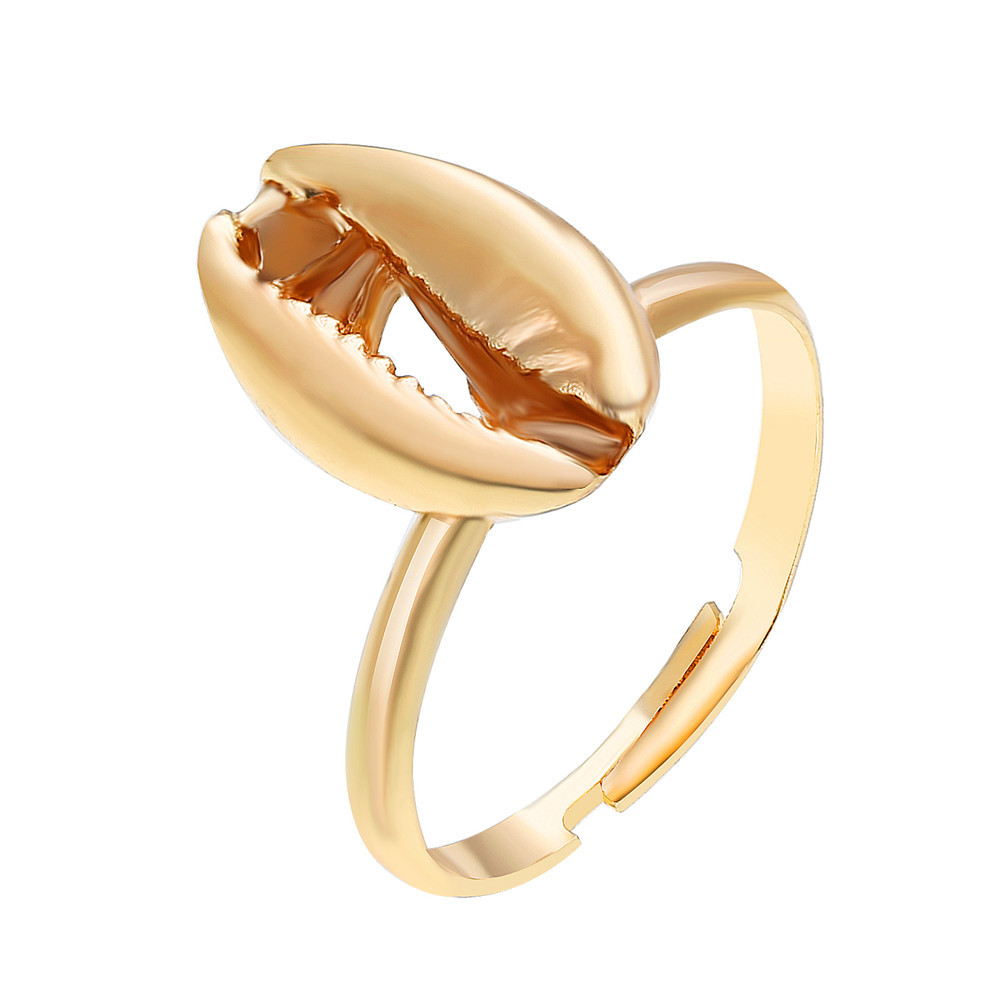 MInimalist Adjustable Bohemian Gold Silver Color Carved Conch Shell Ring For Women Friendship