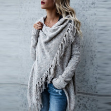 Women Knitted Winter Warm Sweater Cardigans Long Sleeve Tassel Fringe Shawl Poncho Cardigan Jackets Coats Oversized(China)