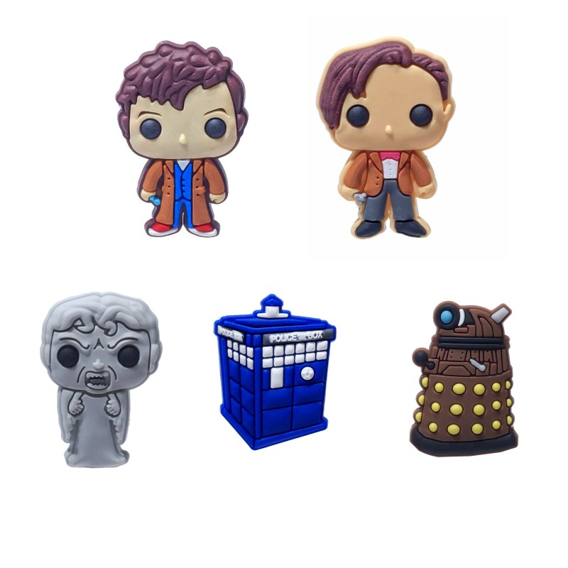 1pcs Doctor Who Cartoon PVC Shoe Charms Buckles Accessories Fit Shoes Wristbands Bracelets Croc Decoration JIBZ Kid Gift