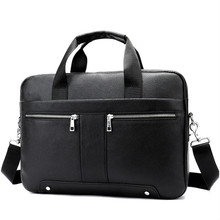 14 Laptop Bag For A4 Document Bussiness Tote Fashion Briefcase 8522 Bag For Men Genuine Leather Men's Briefcase Leather