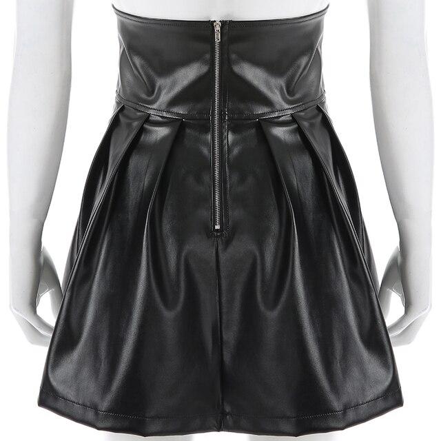 SUCHCUTE Women's Skirts Gothic Harajuku Bandage Faux Leather Korean Fashion Black Mini Pleated Skirts 2019 Summer Party Pu Saias 5