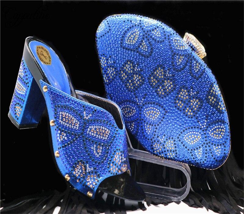 Nigeriano fuchsia Fiesta oro Medio Color Tacones Italiano Blue Estilo púrpura Zapatos Y plata Capputine Bolso Verano De Royal Púrpura Mujer Bolsa AgfqUqExw