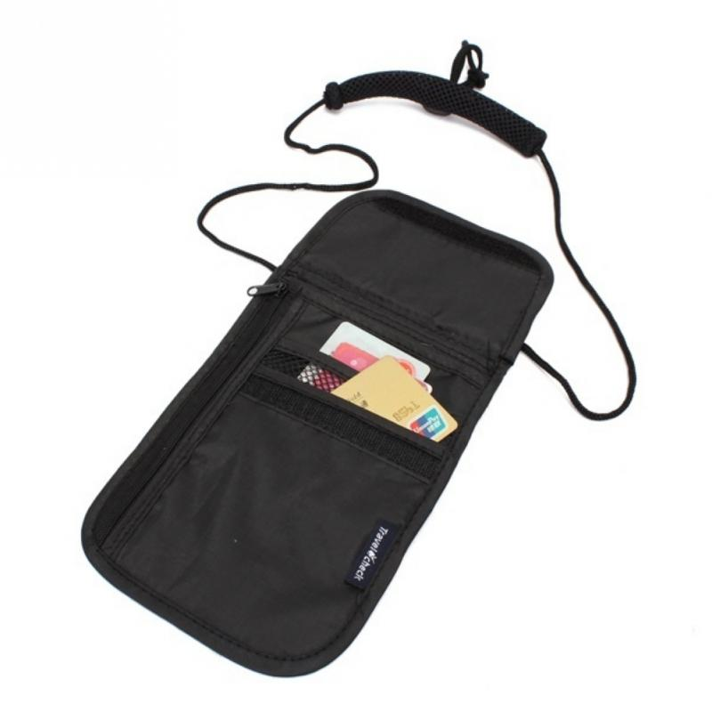 Nylon Card Bag Neck Wallet Money Document Card Passport Pouch