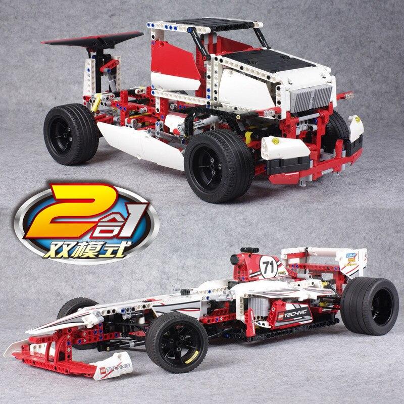 1219 قطعة F1 صيغة سباق سوبر سيارة تكنيك 2in1 نموذج بناء كتل ألعاب مكعبات للأطفال-في حواجز من الألعاب والهوايات على  مجموعة 1
