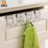 4Pcs/Set Cartoon Figures Over Door Hooks Drawer Hook Stainless Steel Back Door Hook Rack Hanger For Clothes Bag Office Organizer