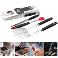 4pcs BBQ Grilling Tool Set with Aluminum Storage Case Stainless Steel Barbecue Tongs Spatula Fork Brush