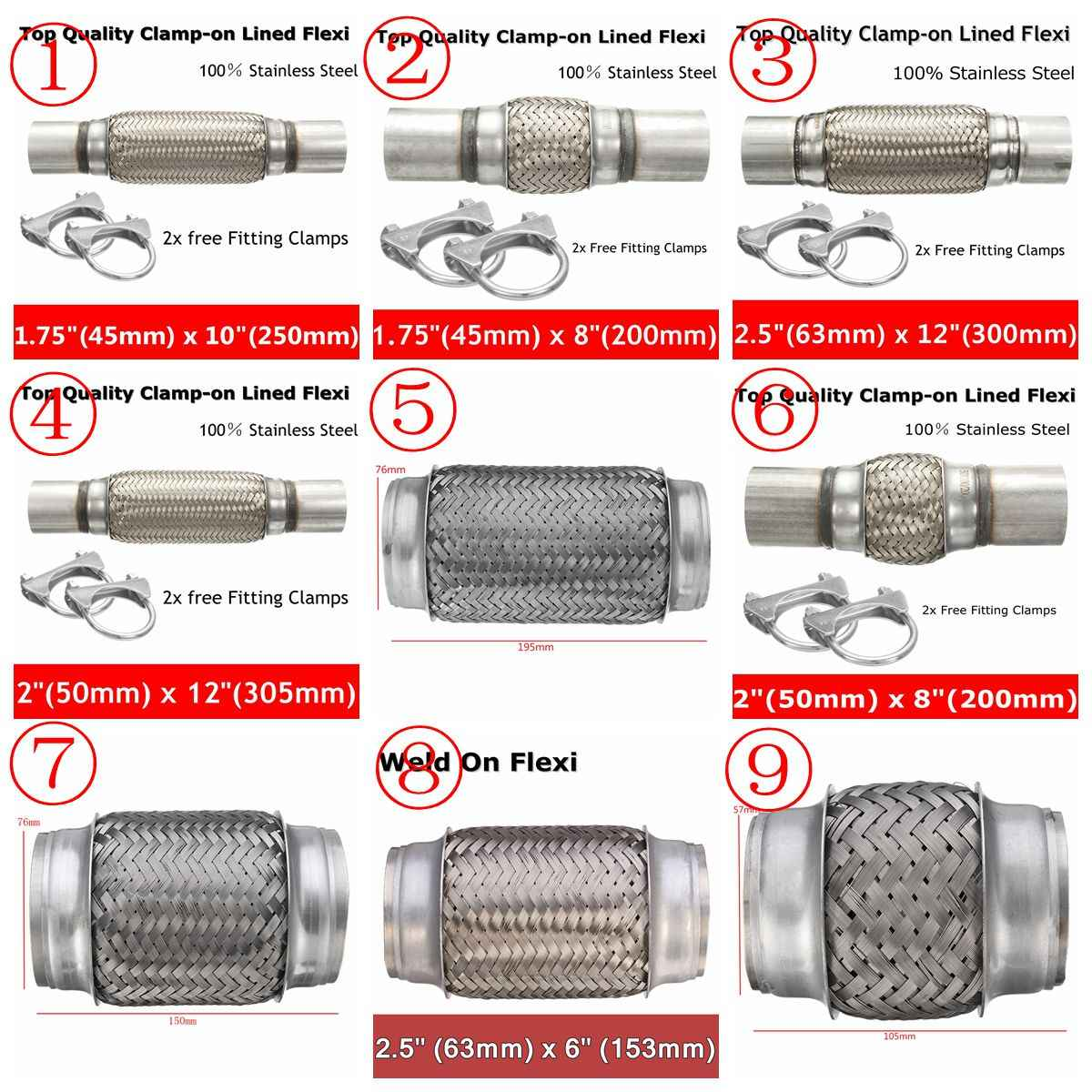 stainless exhaust flex tube joint flexi repair flexi pipe 300x63 50mm 250x45mm 200x76 50 46mm 150x76 63mm 100 57mm