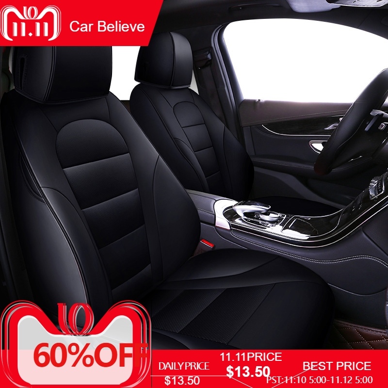 Car Believe car seat cover For ford focus 2 3 S-MAX fiesta kuga 2017 ranger mondeo mk3 accessories covers for vehicle seat pu leather universal car cushion for ford focus 2 3 s max fiesta kuga ranger mondeo mk3 fusion car seat cover car accessories