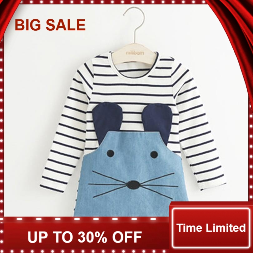 Striped Patchwork Character Girl Dresses Long Sleeve Cute Mouse Children Clothing Kids Girls Dress Denim Kids