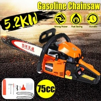 Doersupp 5200W 75cc Engine Gas Gasoline Powered Chainsaw Professional Wood Cutting Grindling Machine 20 Inch Cycle Chain Saw