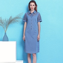 Hollow Out Cowboy dress spring and summer hollow out chemical allover lace large size loose denim women NW19B6083