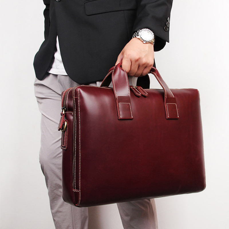 New Simple Fashion Business Briefcase 15 Inch Computer Bag 40 726 Cow Skin Men s Handbag
