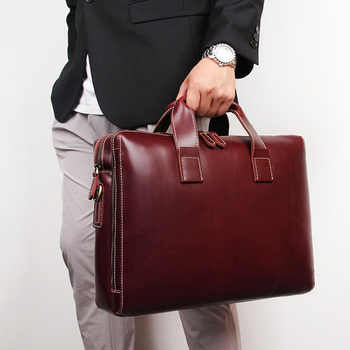 New Simple Fashion Business Briefcase 15 Inch Computer Bag 40-726 Cow Skin Men\'s Handbag Lawyer Briefcase - DISCOUNT ITEM  40 OFF Luggage & Bags
