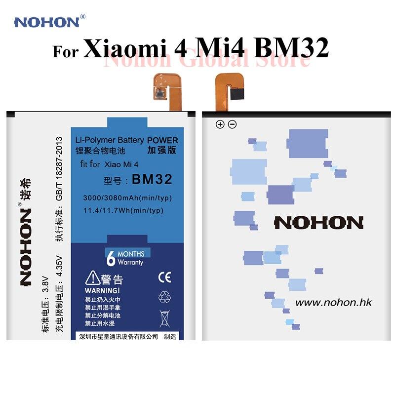 NOHON Batterie Pour Xiao mi mi 4 mi 4 Xiao mi 4 BM32 3000 mAh Intégré téléphone portable Haute Capacité Li -polymère Bateria Avec Outils + Paquet