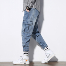 Men's Jeans 2019 Spring New Port Wind Tooling Large Size M-5XL Beam Feet Loose Nine Points Jeans Slim Feet Youth Men's Clothing цены онлайн
