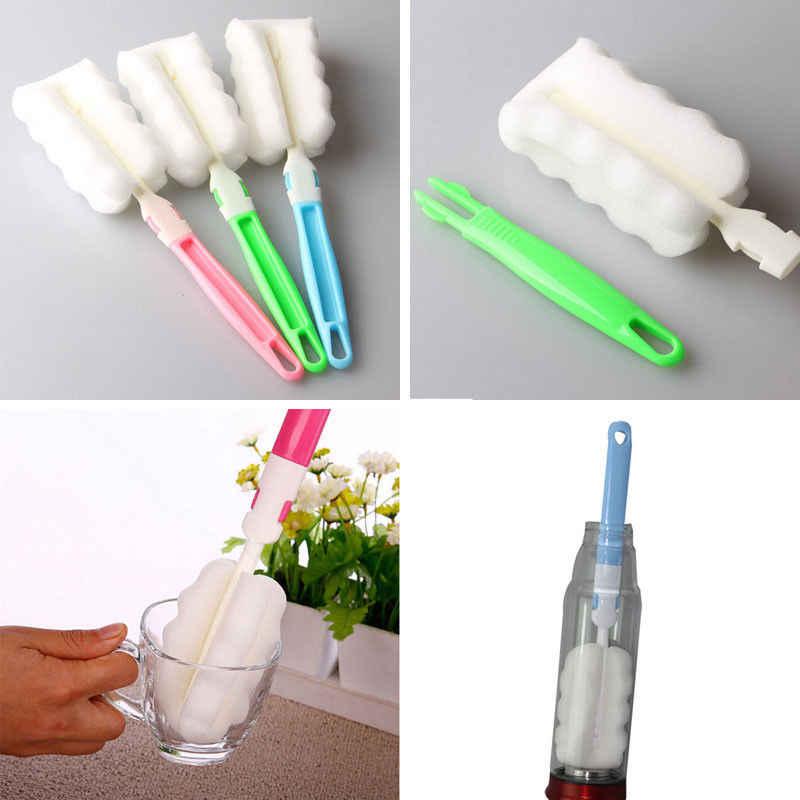 Cocina cepillo de esponja con mango botella bebé taza de vidrio lavado limpiador herramienta
