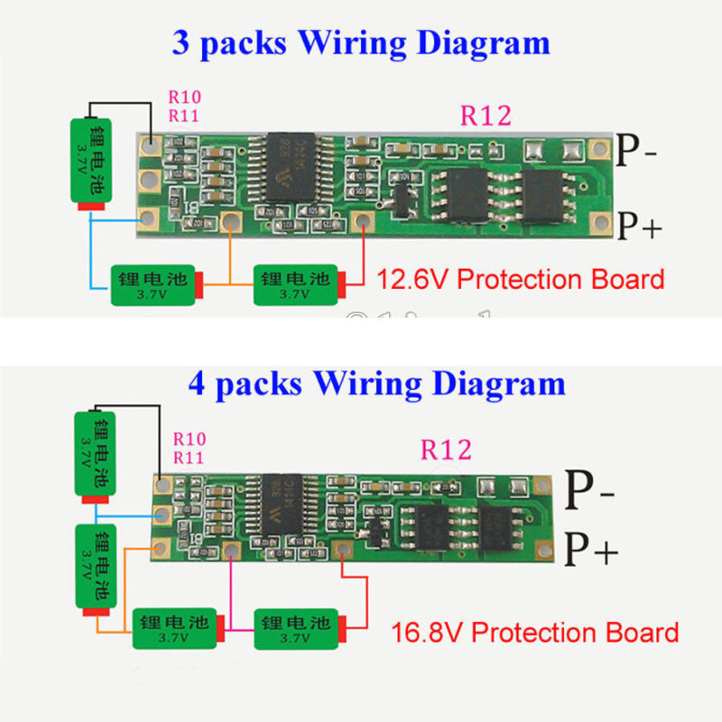 3s 4s Battery BMS Protection PCB Board For 3-4 Packs 3.7v 18650 Li-ion Lithium Battery Cell