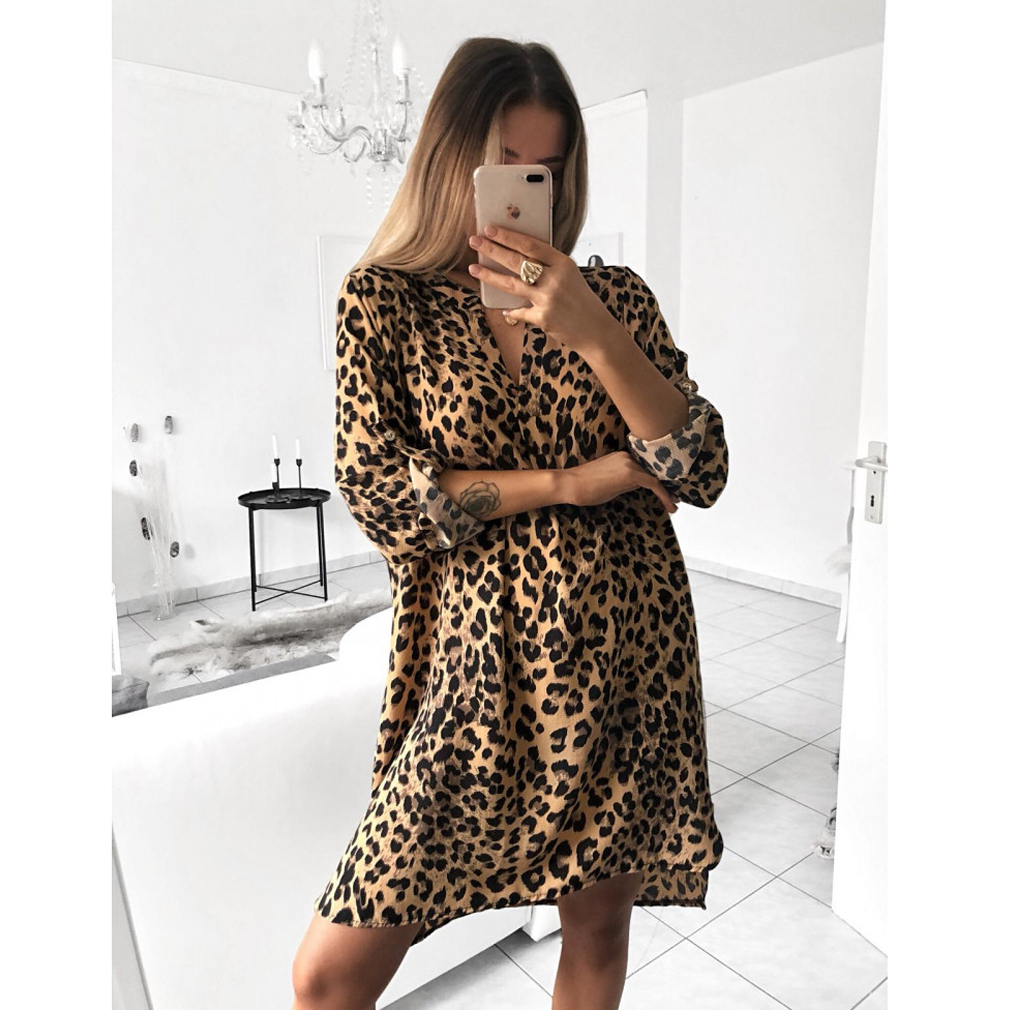 Women Tops Leopard Snake Skin Cobra Print Jumper Dress Plus Size ...
