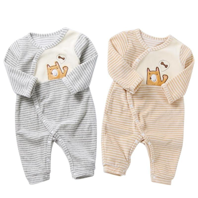 Boys' Baby Clothing Devoted Soft Warm Winter Cartoon Stripe Baby Rompers Side Button Up Cotton Casual Long Sleeve Jumpsuit For 9-24 Months High Quality Goods Mother & Kids