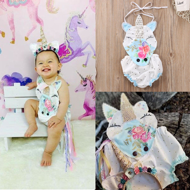 Pudcoco Girl Jumpsuits 0-18M Newborn Baby Girls Unicorn Floral Strap   Romper   Jumpsuit Clothes Summer US