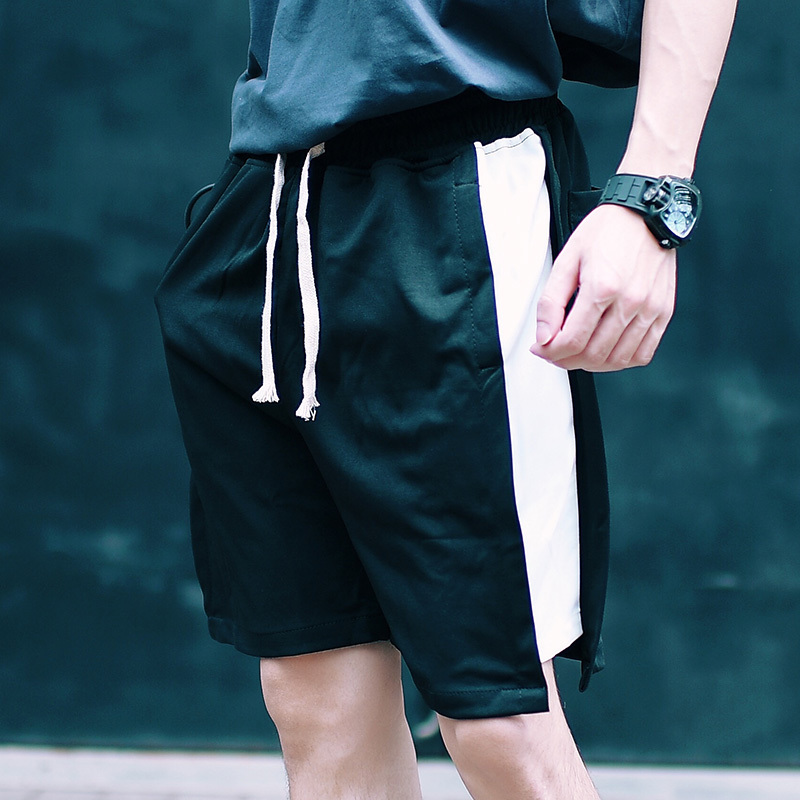 Men's Short Trousers 2019 Summer New Black And White Contrast Short Trousers Loose Casual Hip-Hop Young Men's Wear