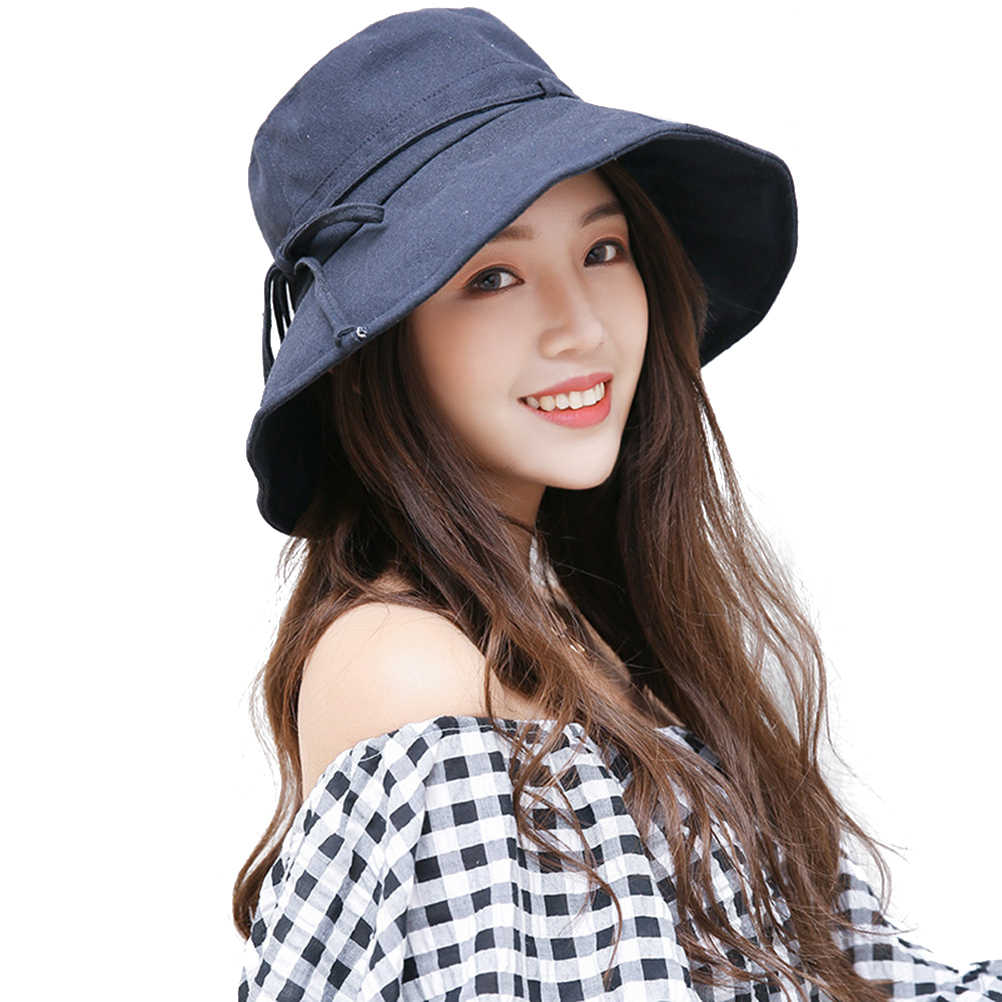96a3704b1 56-58 cm Women Sunhat Sun Protective Sun Block UV Protection Foldable Wide  Brim Cotton Bucket Hat for Women Ladies Girls