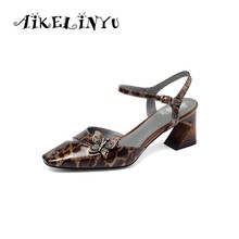 AIKELINYU Big Size 34-43 Lady Sandals 2019 New Fashion Patent Leather Buckle Strap Leopard Print Hoof Heels Classic Shoes Woman