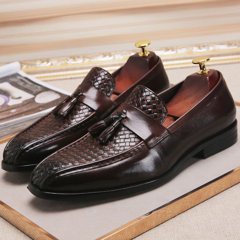 New Recommand Woven Oxfords Men Full Grain Leather Tassel Loafers Business Man Casual Office Shoes Four Seasons in Men 39 s Casual Shoes from Shoes