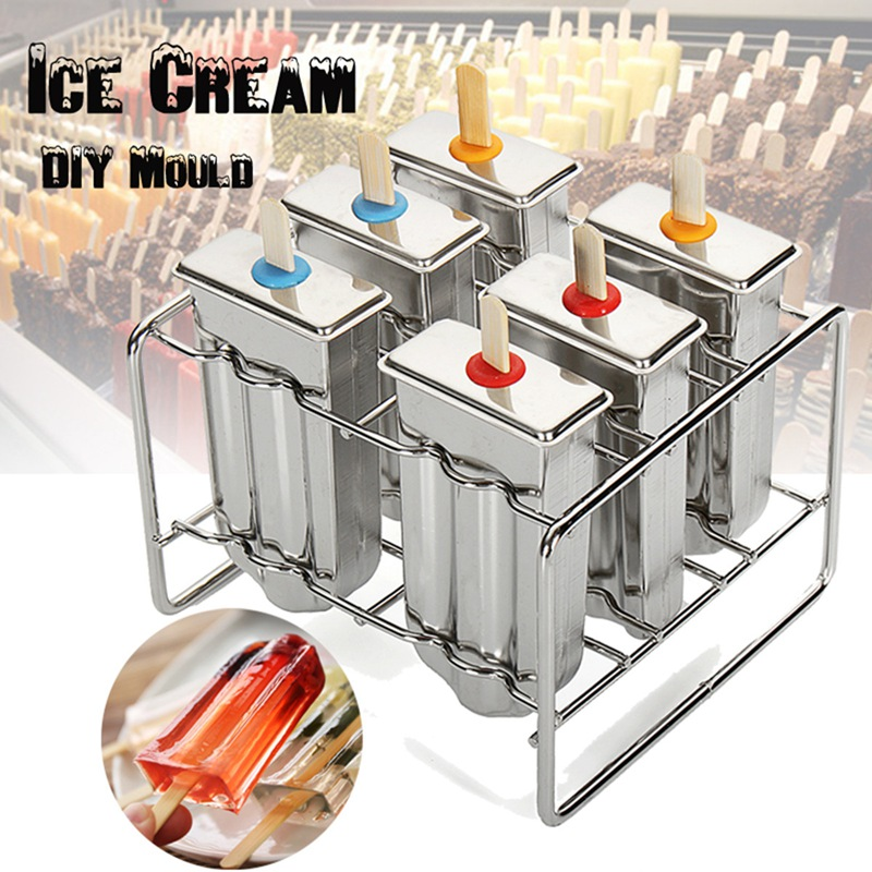 Summer Round Head + Flat Head Home DIY Ice Cream Stick Holder 6 Molds Stainless Steel Popsicle Mold Ice Pop Lolly Sets