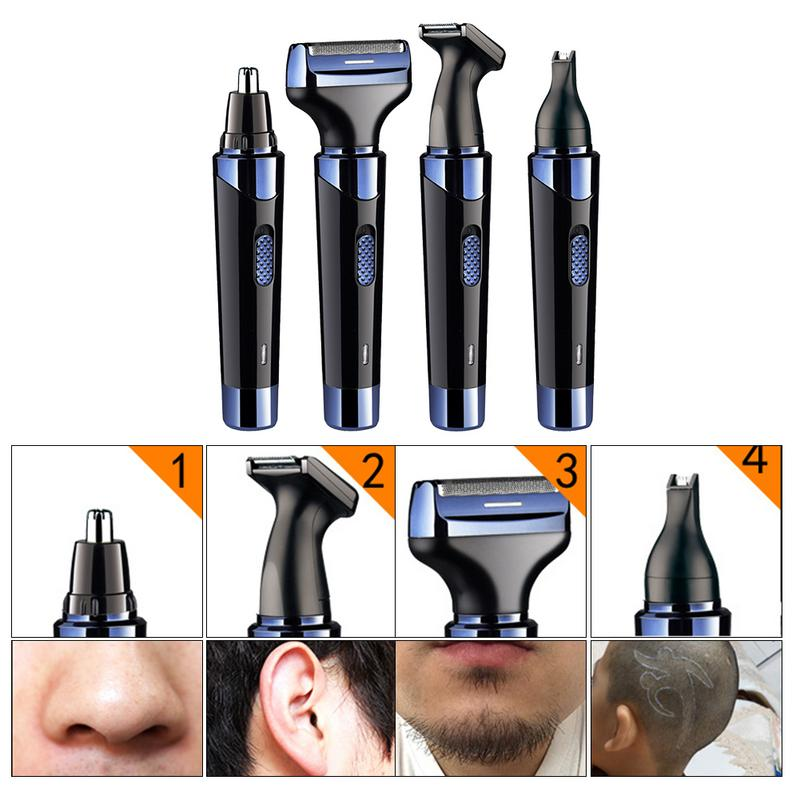 Professional Male Nose Hair Trimmer Rechargeable Ear Hair Beard Sideburns Eyebrow Trimmer Multifunctional Shaving Tool