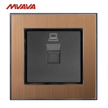 MVAVA RJ45 Outlet Computer Jack Plug Port Wall Socket PC LAN Data Receptale Luxucy Gold Satin Metal Panel Free Shipping