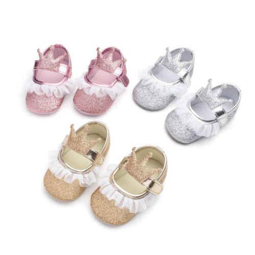 Bebé niña princesa corona lentejuelas encaje PU cuna suela suave zapatos recién nacido Prewalker suela suave antideslizante primero caminantes 0-18 M