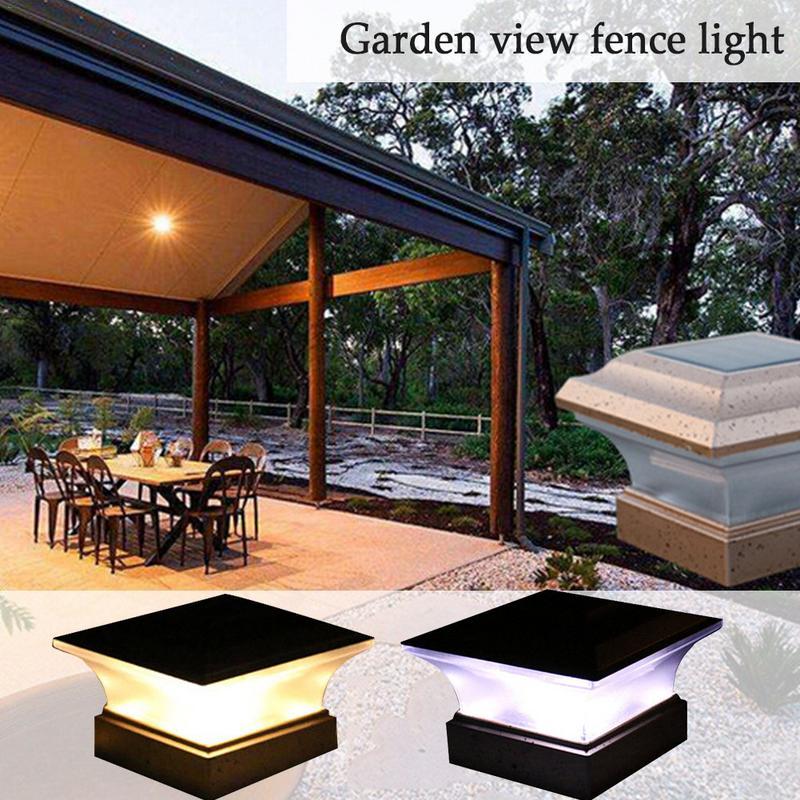 Outdoor Garden Solar Light 28LEDs Post Deck Cap Square Fence Landscape Lamp Night Security Waterproof