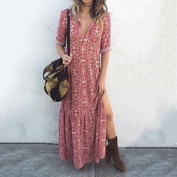 Try Everything Pink Summer Beach Dress Plus Size Long Dress Women 2019 A Line Loose Ladies Dresses Printed Maxi Dress Cotton Платье