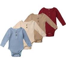 Новорожденных для маленьких девочек мальчиков Ползунки с оборками одноцветное Цвет Экипаж шеи детские комбинезоны с длинным рукавом принцесса Ромпер верхня Одежда 0-24 M
