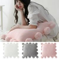 50x50cm Soft Knitted Pillow Case Fluffy Ball Cushion Cover Sofa Car Bed Decor Pillow Covers New