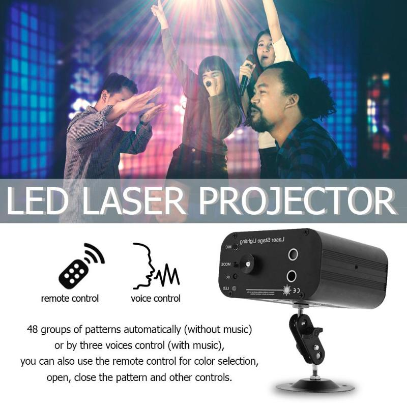 3 Holes 48 Pattern LED Laser Projector Voice Control Stage Flash Light DJ Disco KTV Party Club Lamp EU/US/UK/AU Plug3 Holes 48 Pattern LED Laser Projector Voice Control Stage Flash Light DJ Disco KTV Party Club Lamp EU/US/UK/AU Plug