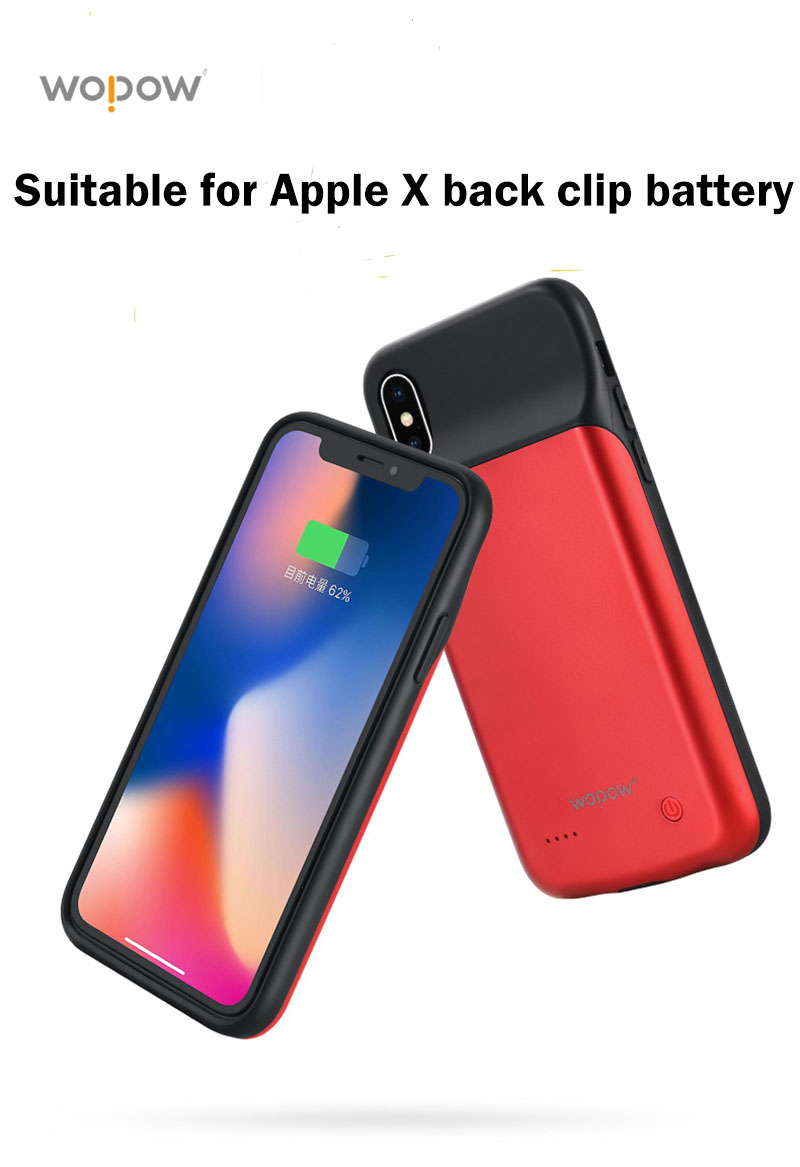 WOPOW 3200mAh Power Bank Back Clip Battery Case For iPhone X External Backup Battery Charge With 3.5mm Audio jack listen music