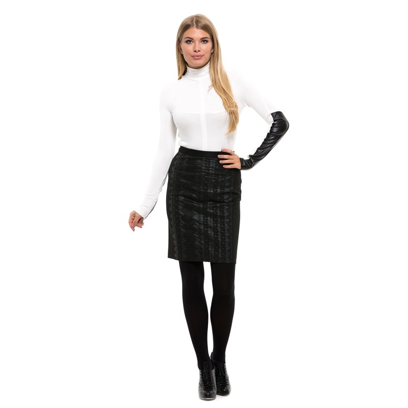 Skirt pencil knee-length and narrow Belt rib knit pencil skirt