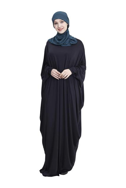 Abaya Muslim Women Long Dress Jilbab Kaftan Bat Sleeve Casual Loose Arab Maxi Robe Islam Solid Color Gown Prayer Clothes Garment 1