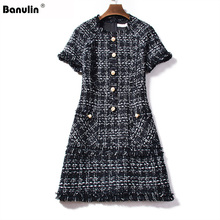 Banulin Retro Plaid Wool Winter Dress 2019 Runway Tweed Women Short Sleeve Tassel Fringe Trim Beading Vintage Dresses Vestidos fringe trim tweed blouse