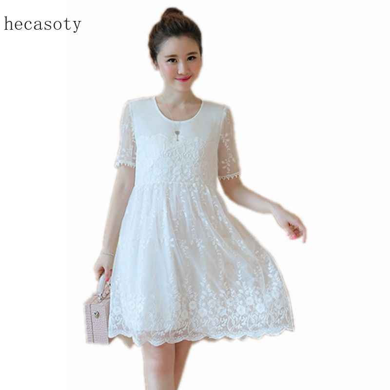9fc763d1629f Maternity Lace Dresses for Women Summer White Pink Blue Patchwork Pregnancy  Dress Clothes for Pregnant Women