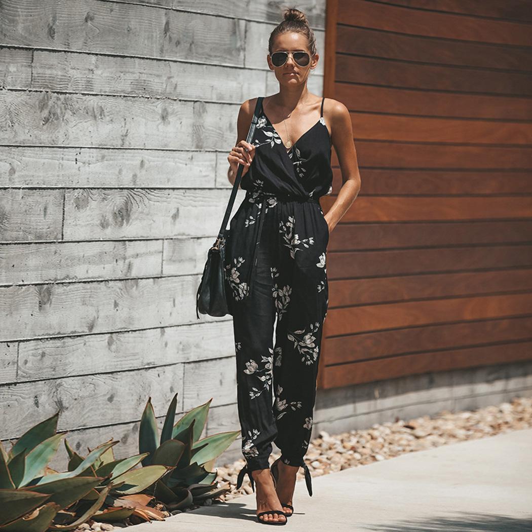 Women Casual V Neck Spaghetti Strap Fashion Floral   Jumpsuit   Summer Side Split Full Length Causal
